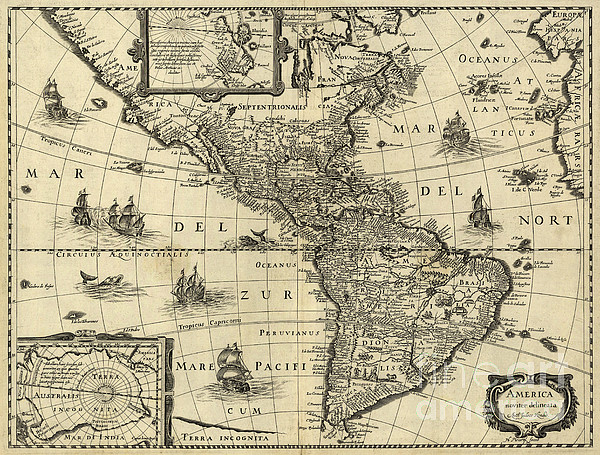 Map Of The Americas 1640 Print by Photo Researchers