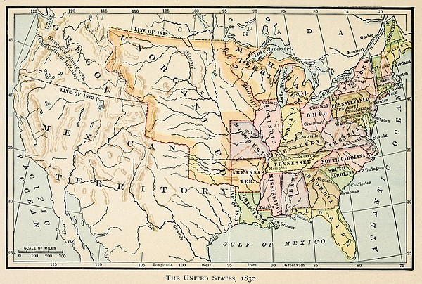 Map Of The United States In 1830 Print by Everett