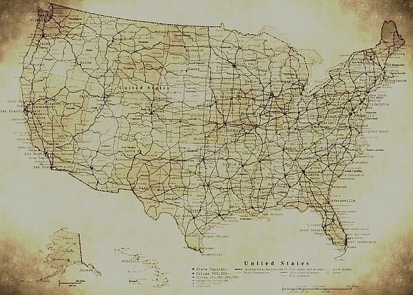 Map Of The United States In Digital Vintage By Sarah Broadmeadow-Thomas