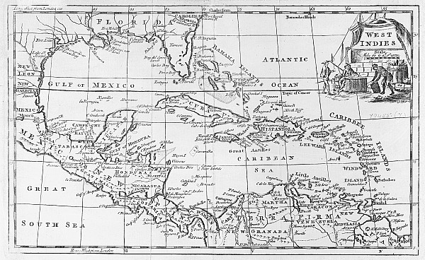 Map Of The West Indies Florida And South America Print by English School