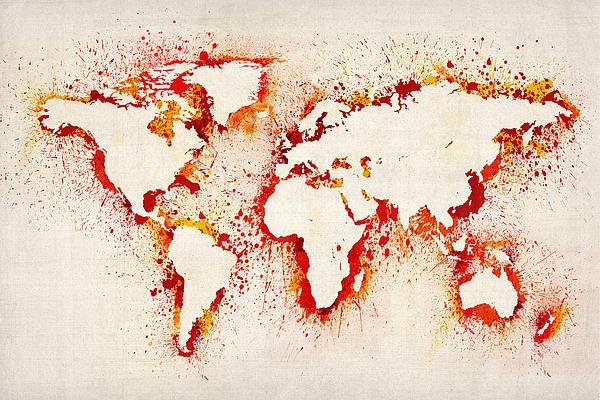 Map Of The World Paint Splashes Print by Michael Tompsett