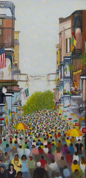 Mardi Gras On Bourbon Street Print by Douglas Ann Slusher