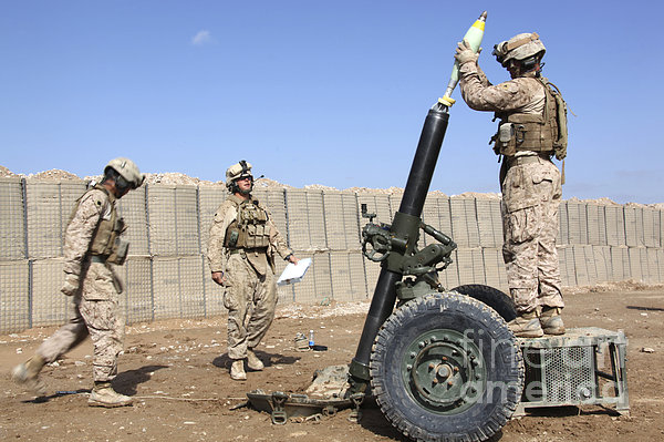 Marines Prepare To Fire A 120mm Mortar Print by Stocktrek Images