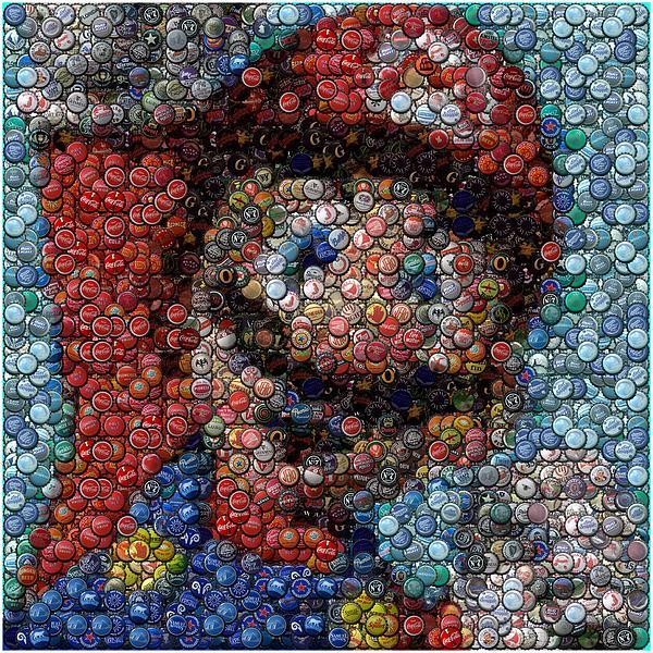 Mario Bottle Cap Mosaic Print by Paul Van Scott