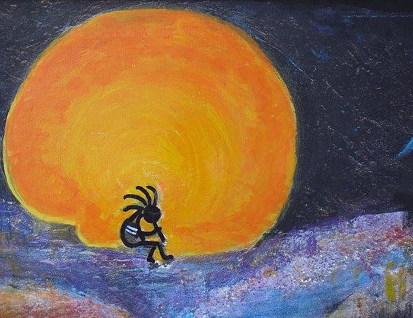 Marmalade Orange And Yellow Moon And Kokopelli Print by Anne-Elizabeth Whiteway