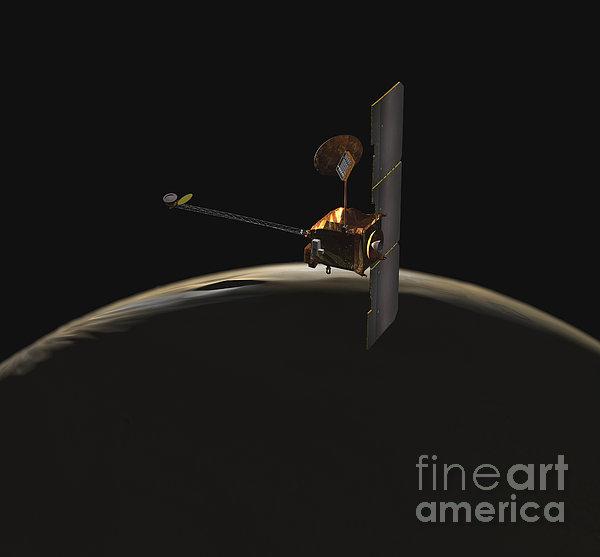 Mars Odyssey Spacecraft Over Martian Print by Stocktrek Images