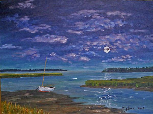 Marsh Moon Painting  - Marsh Moon Fine Art Print