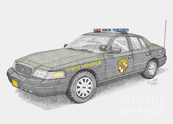 Maryland State Police Car 2012 Print by Calvert Koerber