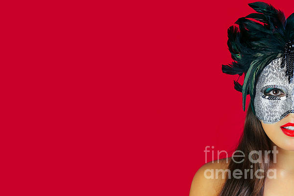 Masquerade Mask Red Background Print by Richard Thomas