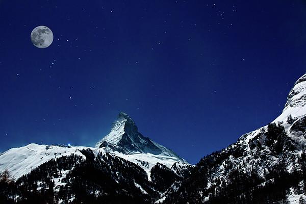 Matterhorn Switzerland Blue Hour Print by Maria Swärd