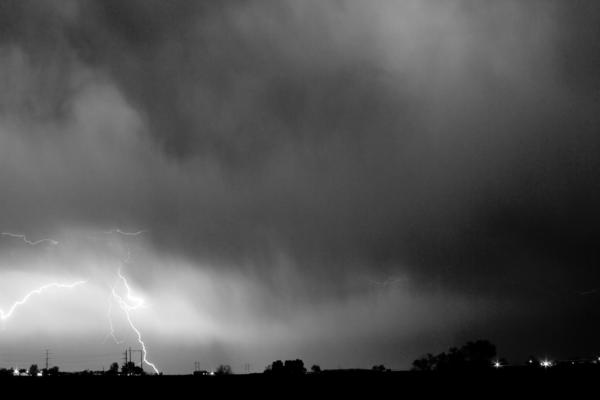 May Showers 3 In Bw - Lightning Thunderstorm 5-10-2011 Boulder C Print by James BO  Insogna