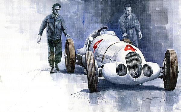 Mb W125 Gpcar 1937 Print by Yuriy  Shevchuk
