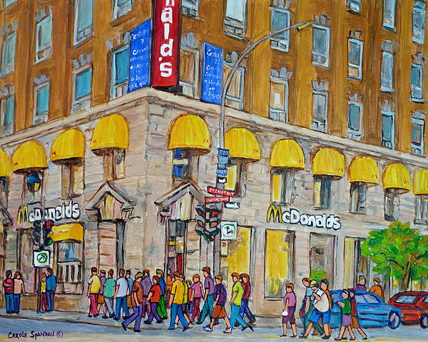 Mcdonald Restaurant Old Montreal Print by Carole Spandau