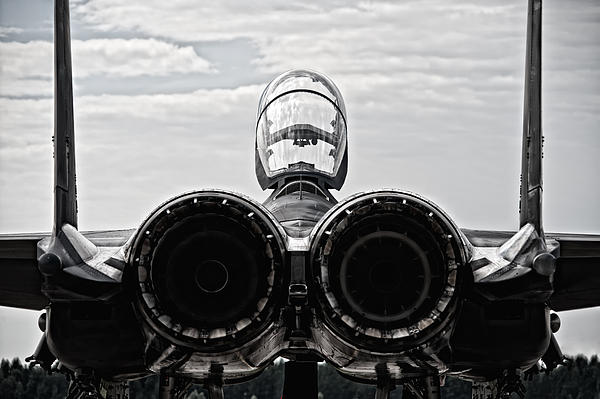 Mcdonnel Douglas F-15 Back View Print by Marta Holka