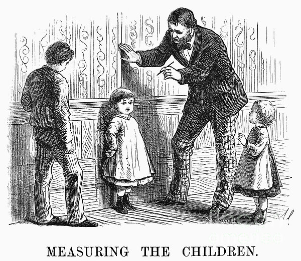 Measuring Children, 1876 Print by Granger