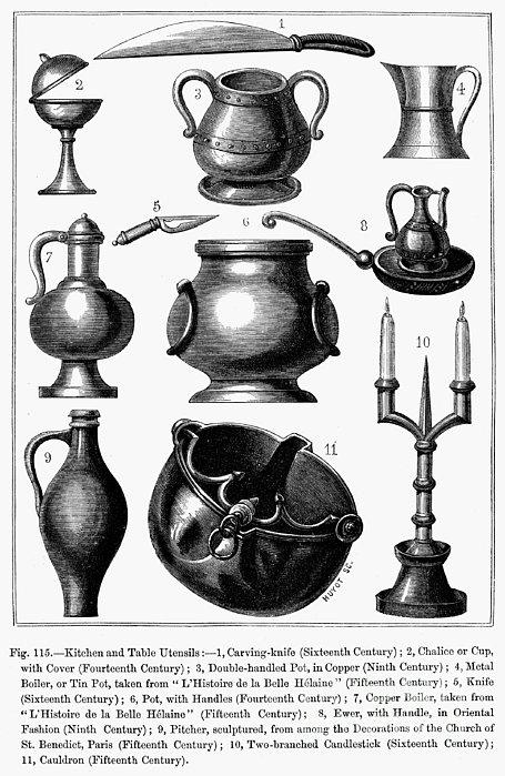 Medieval Utensils Print by Granger