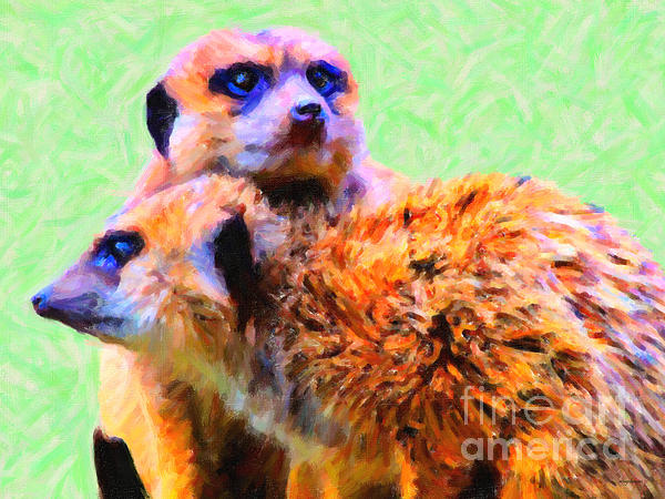 Meerkats . 7d4176 Print by Wingsdomain Art and Photography