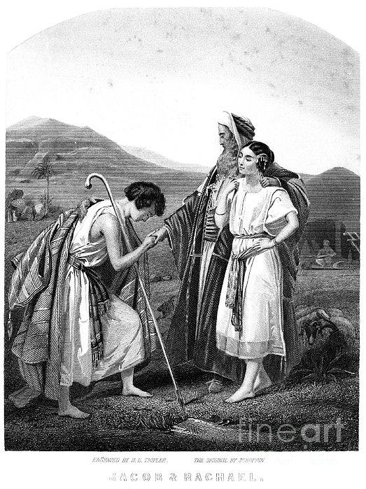 Meeting Of Jacob & Rachel Print by Granger