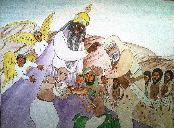 Melchizedek's  Blessing Of Abram Print by Derek Perkins