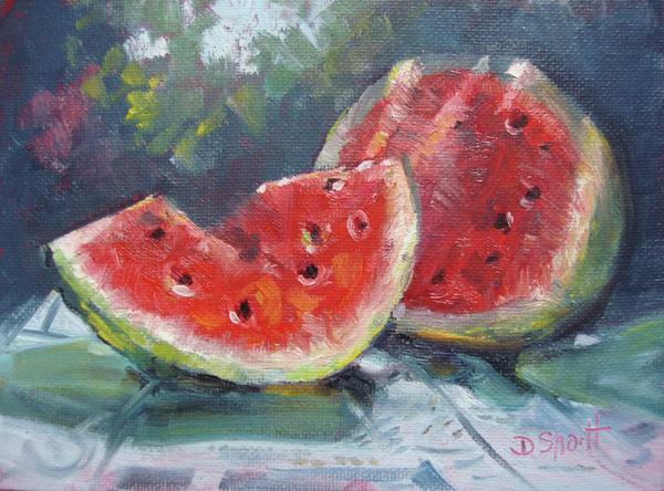 Melon In The Park Painting  - Melon In The Park Fine Art Print