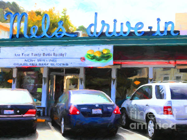 Mel's Drive-in Diner In San Francisco - 5d18014 - Painterly Print by Wingsdomain Art and Photography