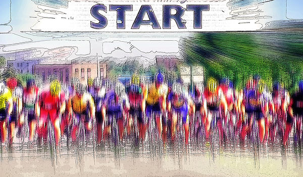 Mens Bike Race - Starting Line Photograph  - Mens Bike Race - Starting Line Fine Art Print