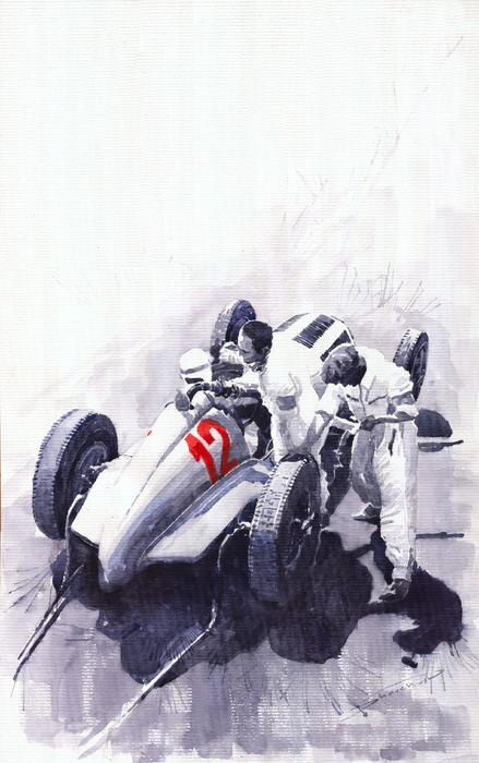 Mercedes Benz W125 Rudolf Caracciola The German Grand Prix Nurburgring 1937  Print by Yuriy  Shevchuk
