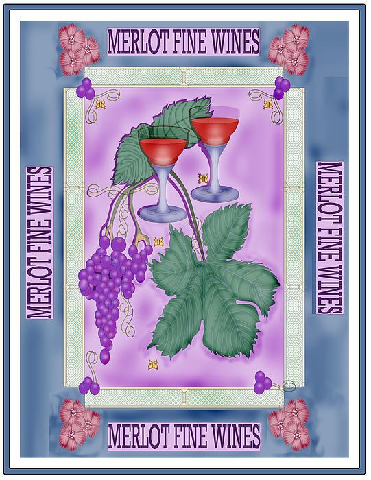 Merlot Fine Wines Orchard Box Label Print by Anne Norskog