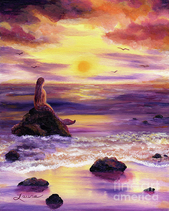 Mermaid In Purple Sunset Painting  - Mermaid In Purple Sunset Fine Art Print