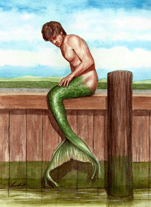 Merman On The Dock Print by Bruce Lennon