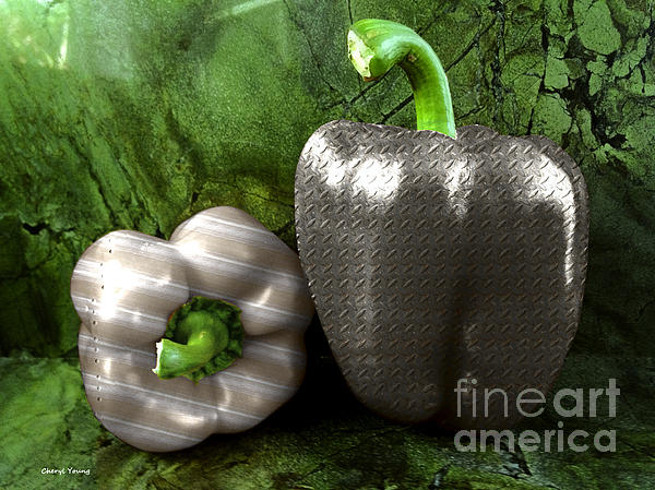 Metal Peppers Print by Cheryl Young