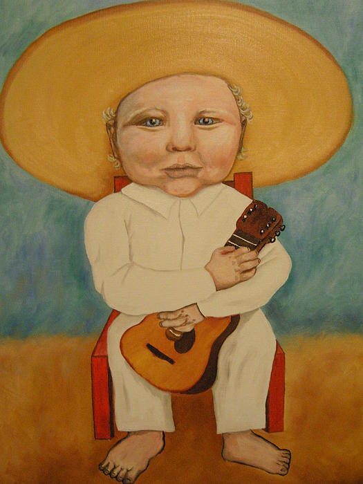 Mexican Boy with Guitar Painting Mexican Boy with Guitar Fine Art Print