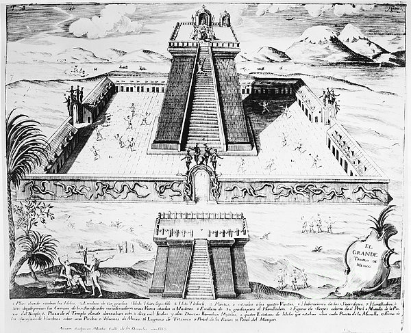 Mexico: Aztec Temple, 1765 Print by Granger