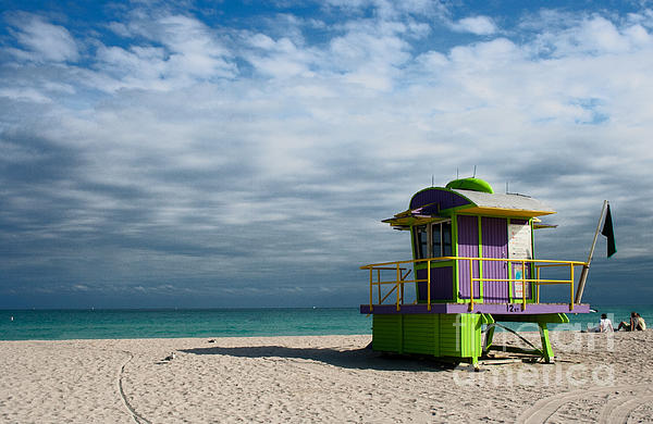 Miami 12th Street Beach  Print by Barbara McMahon