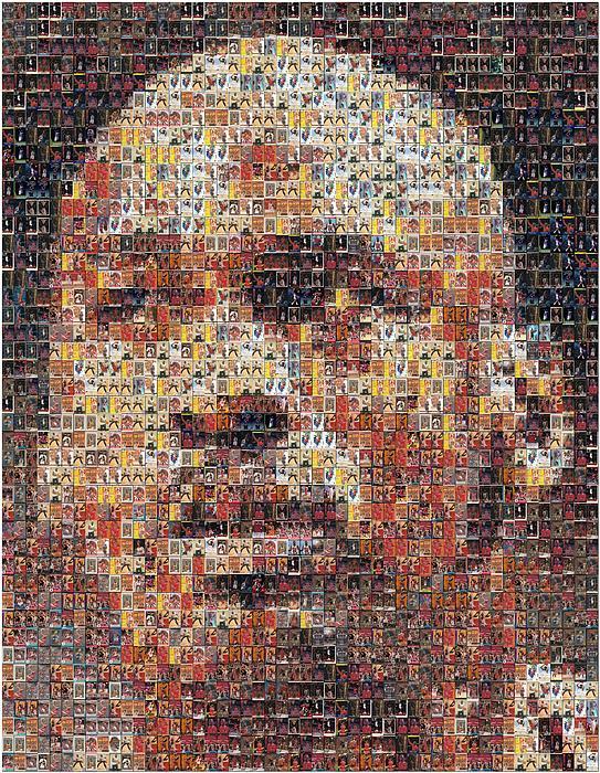 Michael Jordan Card Mosaic 3 Print by Paul Van Scott