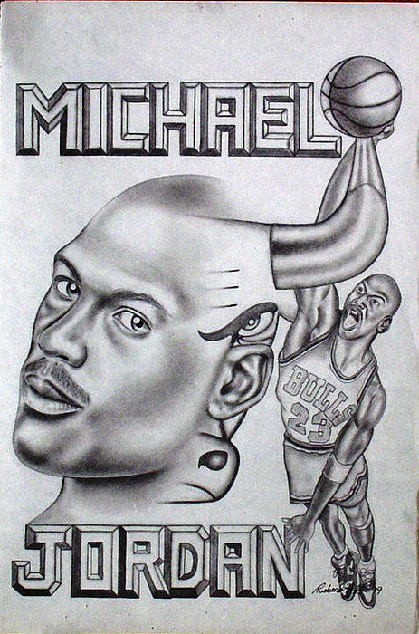 Michael Jordan Double Exposure Print by Rick Hill