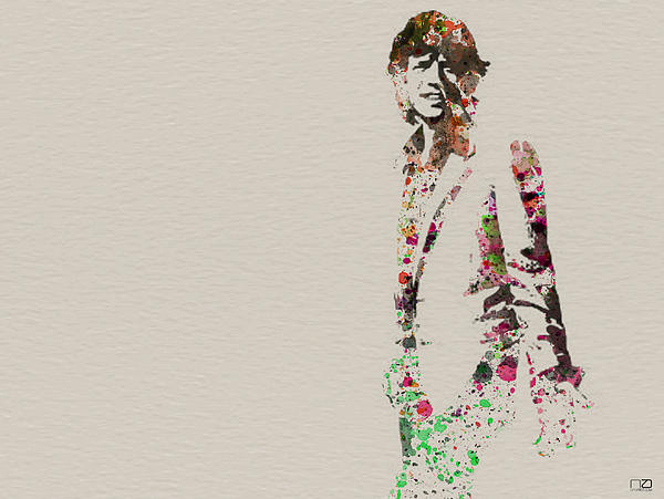 Mick Jagger Watercolor Print by Naxart Studio