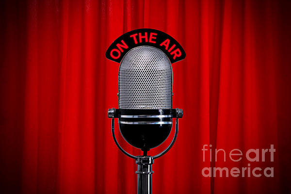 Microphone On Stage With Spotlight On Red Curtain Print by Richard Thomas