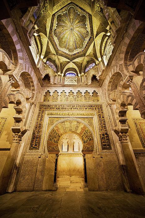 Mihrab And Ceiling Of Mezquita In Cordoba Print by Artur Bogacki