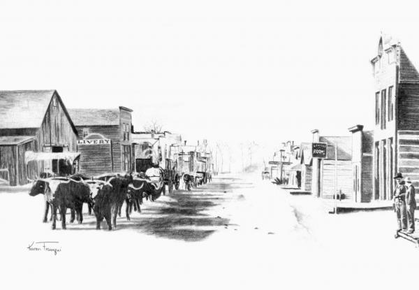 old west town drawingOld Western Town Drawing
