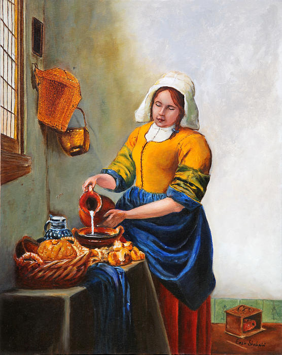 Milk Maid After Vermeer Painting