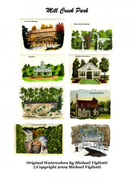 Mill Creek Park Collage Print by Michael Vigliotti
