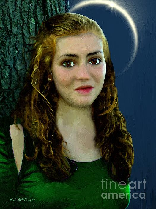 Mina By Moonlight Print by RC DeWinter