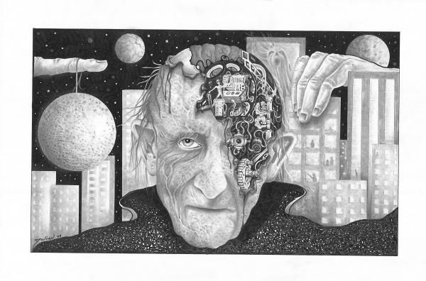 Mind Control Drawing - Mind Control Fine Art Print - Julian B