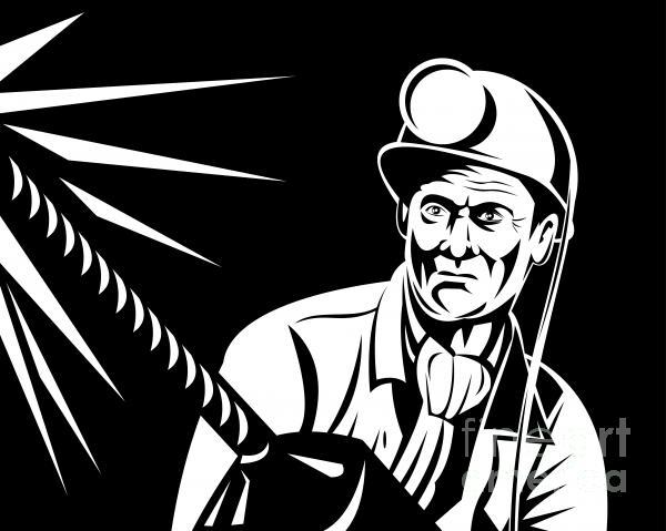 Miner Portrait Front  Print by Aloysius Patrimonio
