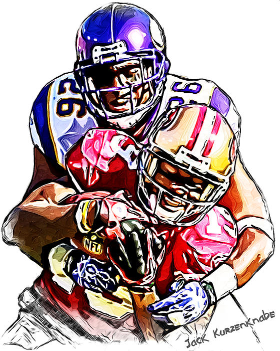 Minnesota Vikings Antoine Winfield  San Francisco 49ers Ted Ginn Jr  Print by Jack K