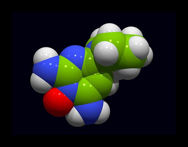 Minoxidil Hair Loss Drug Molecule Print by Dr Tim Evans