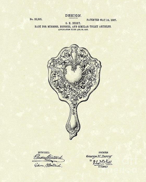 Mirror Back Design I V 1907 Patent Art Print by Prior Art Design