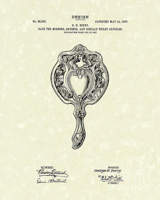 Mirror Back Design II 1907 Patent Art Print by Prior Art Design