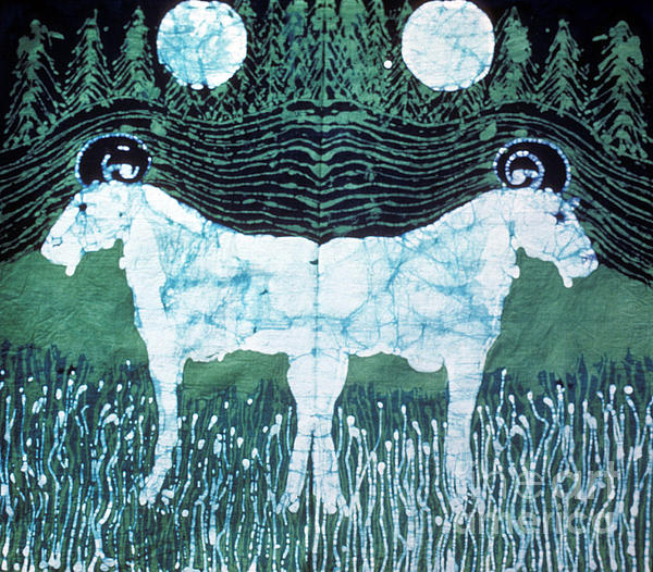 Mirror Image Goats In Moonlight Print by Carol Law Conklin